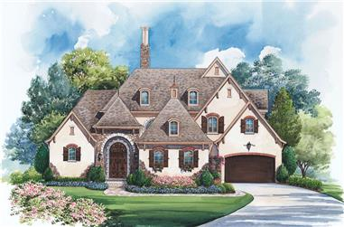 4-Bedroom, 4005 Sq Ft French House Plan - 120-2239 - Front Exterior