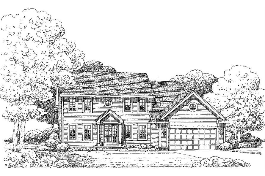 Front Elevation of this Colonial House (#120-2244) at The Plan Collection.