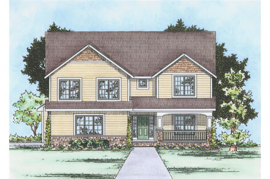 Front Elevation of this Traditional House (#120-2253) at The Plan Collection.
