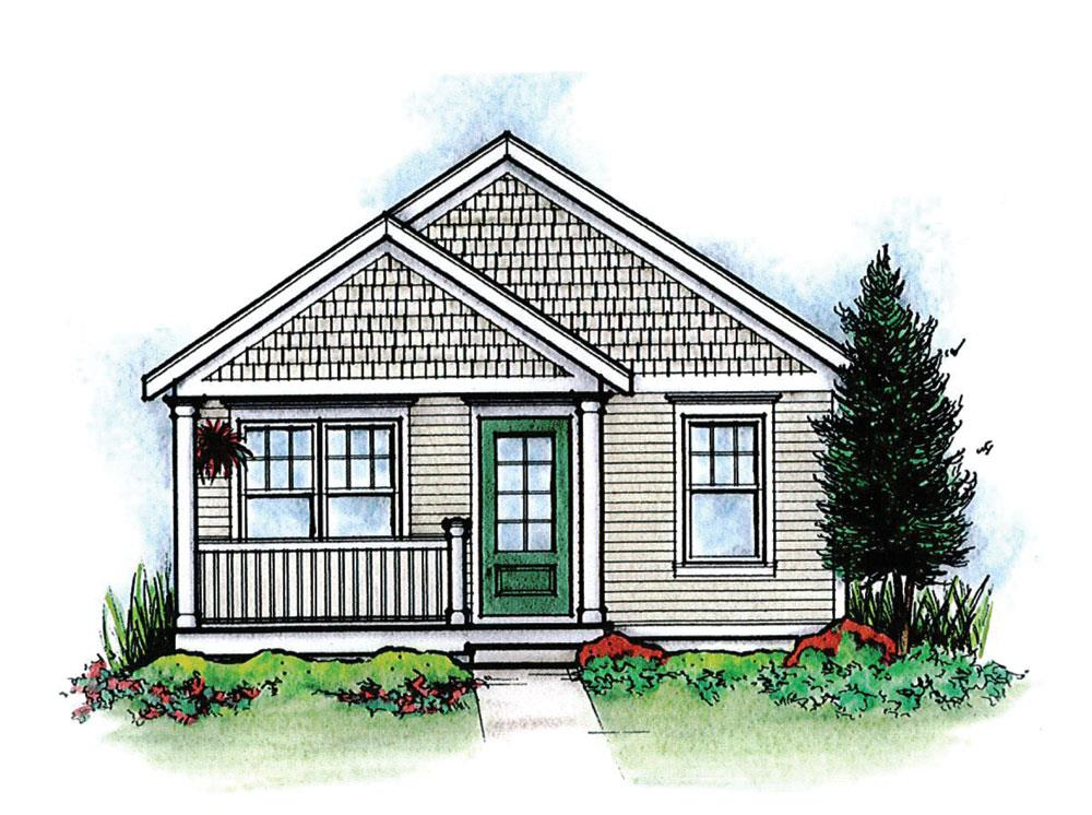 Front Elevation of this Cottage House (#120-2254) at The Plan Collection.