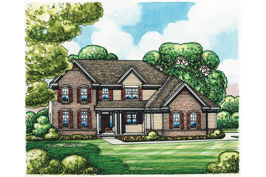 Front Elevation of this Traditional House (#120-2255) at The Plan Collection.