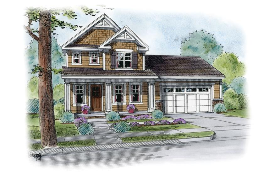 Front Elevation of this Craftsman House (#120-2261) at The Plan Collection.