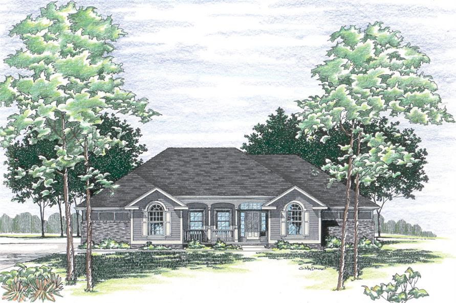 Front Elevation of this Traditional House (#120-2262) at The Plan Collection.