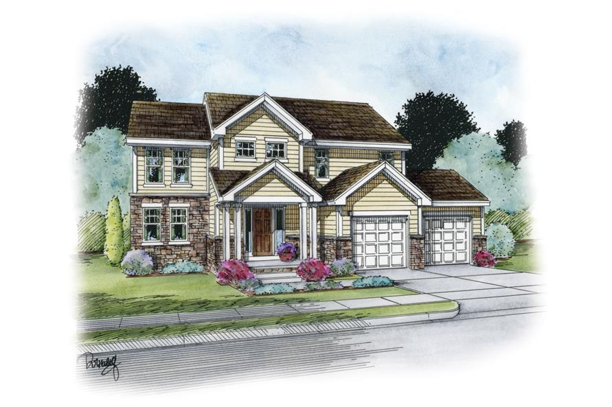 Front Elevation of this Traditional House (#120-2264) at The Plan Collection.