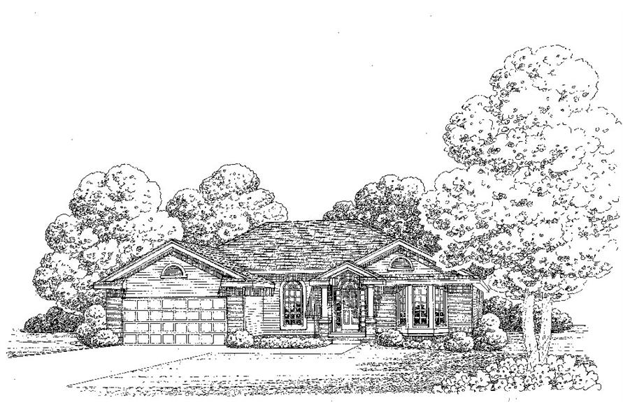 Front Elevation of this Traditional House (#120-2266) at The Plan Collection.