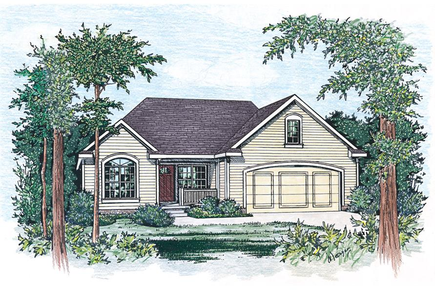 Front Elevation of this Traditional House (#120-2269) at The Plan Collection.