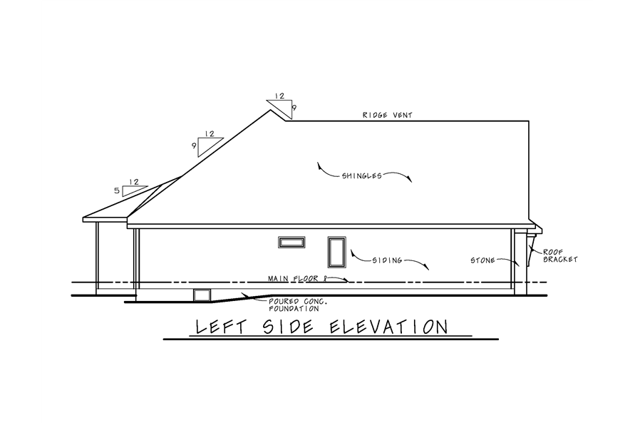 Home Plan Left Elevation of this 1-Bedroom,2307 Sq Ft Plan -120-2270