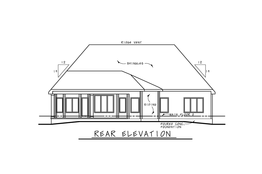 Home Plan Rear Elevation of this 1-Bedroom,2307 Sq Ft Plan -120-2270