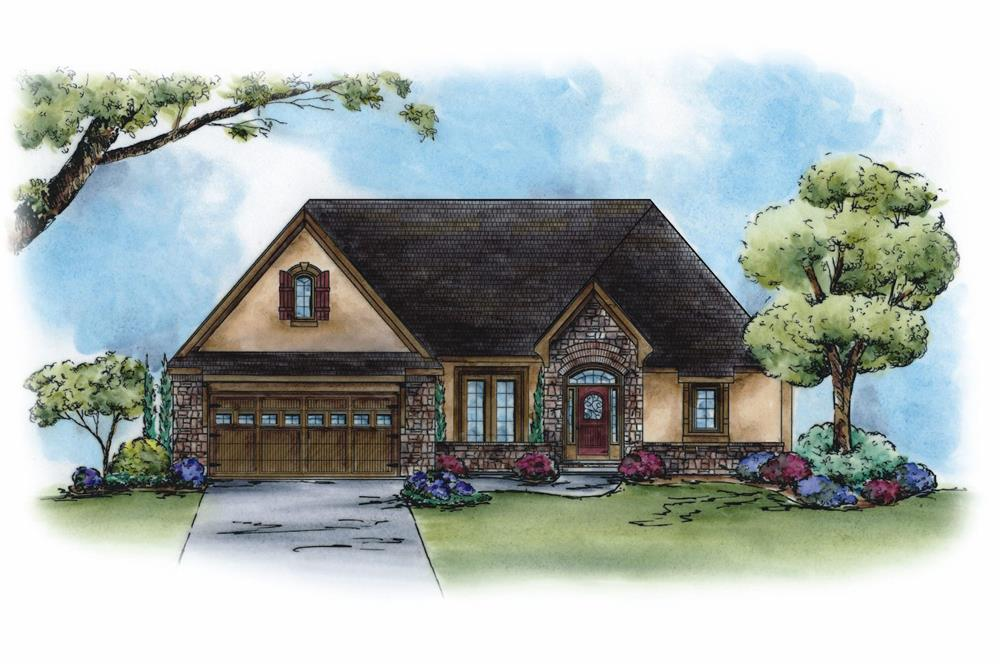Color rendering of French home plan (ThePlanCollection: House Plan #120-2270)