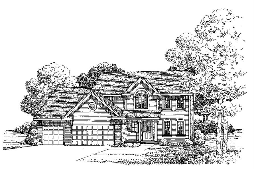 Front Elevation of this Traditional House (#120-2278) at The Plan Collection.