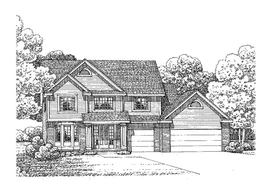 Front Elevation of this Traditional House (#120-2279) at The Plan Collection.