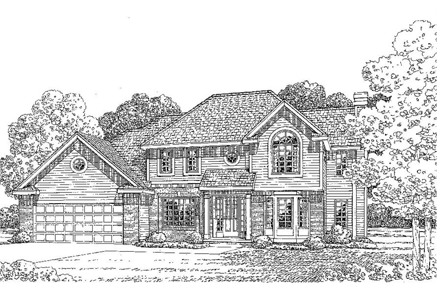 Front Elevation of this Traditional House (#120-2280) at The Plan Collection.