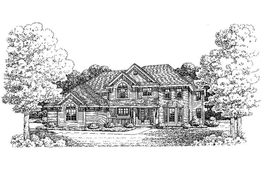 Front Elevation of this Traditional House (#120-2281) at The Plan Collection.