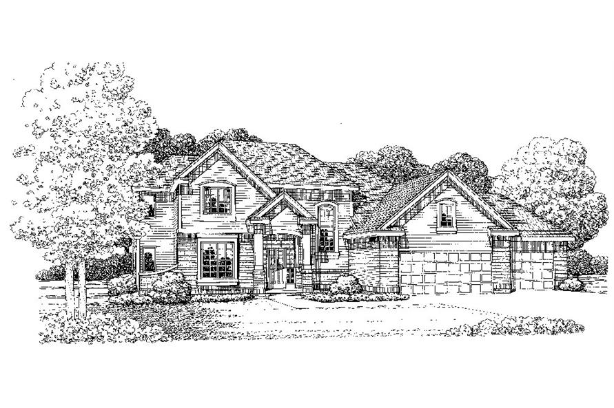 Front Elevation of this Traditional House (#120-2282) at The Plan Collection.