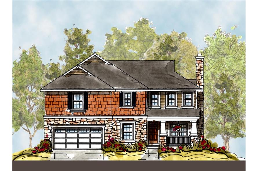 Front Elevation of this Craftsman House (#120-2292) at The Plan Collection.