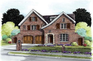 4-Bedroom, 3589 Sq Ft European House Plan - 120-2294 - Front Exterior