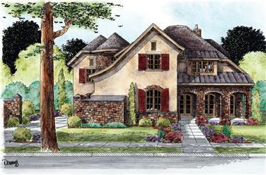 4-Bedroom, 5088 Sq Ft European House Plan - 120-2295 - Front Exterior