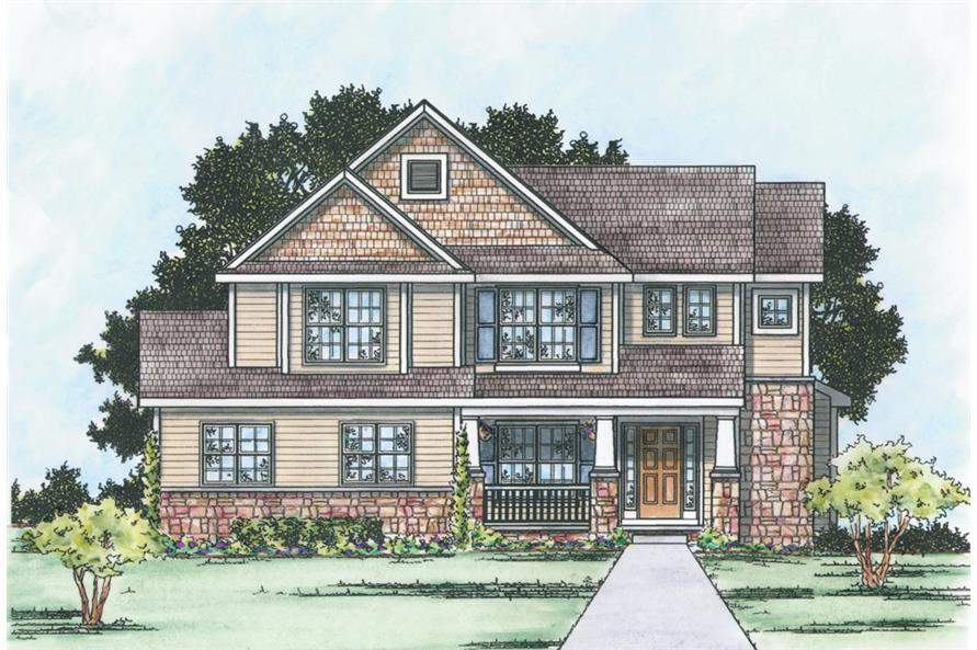 Front Elevation of this Craftsman House (#120-2296) at The Plan Collection.
