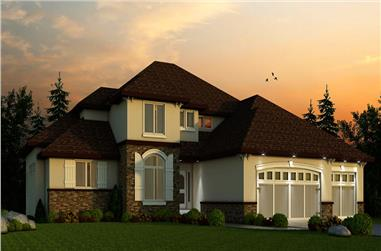 4-Bedroom, 3553 Sq Ft Tuscan House Plan - 120-2456 - Front Exterior