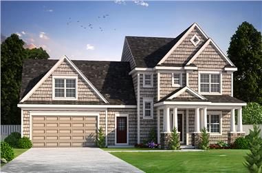Front elevation of Craftsman home (ThePlanCollection: House Plan #120-2461)