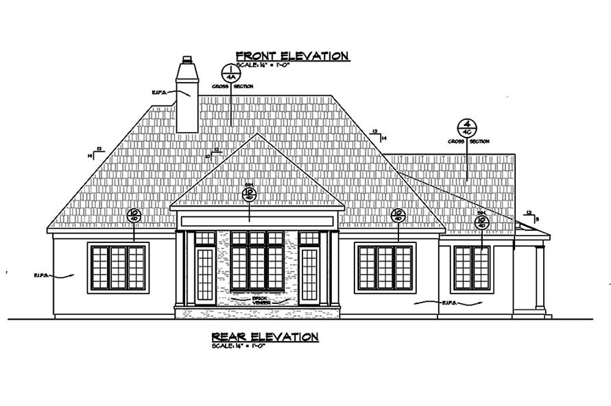 Home Plan Rear Elevation of this 2-Bedroom,2266 Sq Ft Plan -120-2464