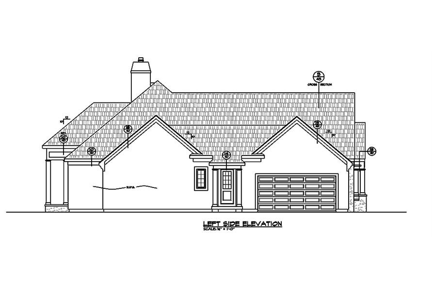 Home Plan Left Elevation of this 2-Bedroom,2266 Sq Ft Plan -120-2464