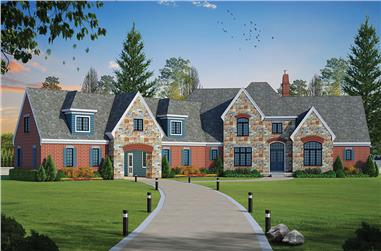 5-Bedroom, 5460 Sq Ft French Home Plan - 120-2473 - Main Exterior