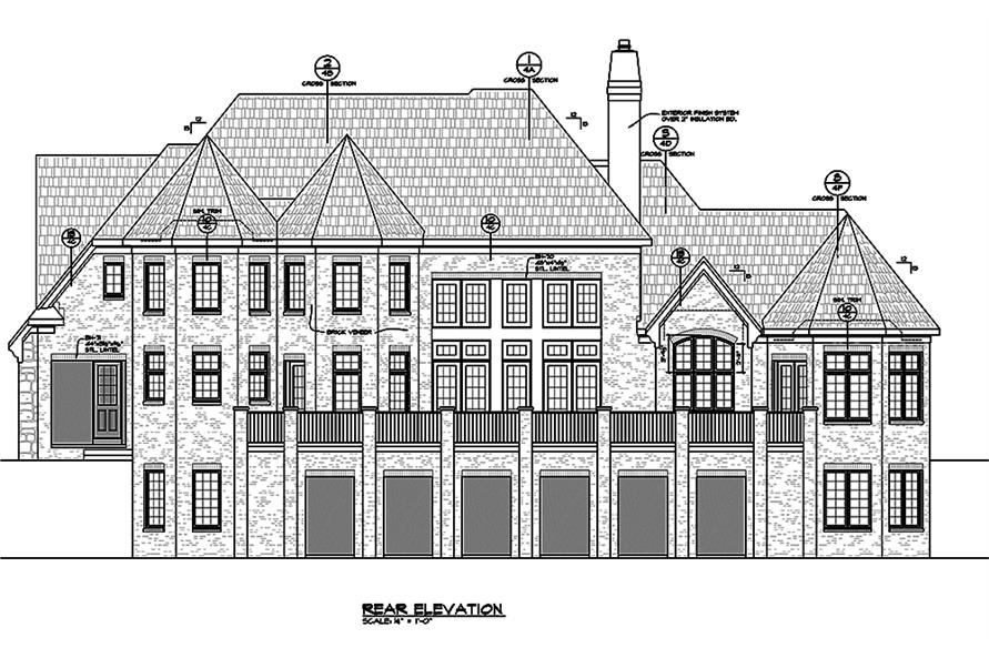 Home Plan Rear Elevation of this 4-Bedroom,4748 Sq Ft Plan -120-2474