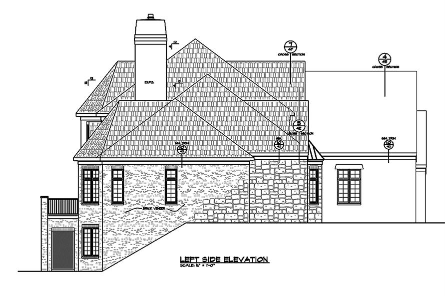 Home Plan Left Elevation of this 4-Bedroom,4748 Sq Ft Plan -120-2474