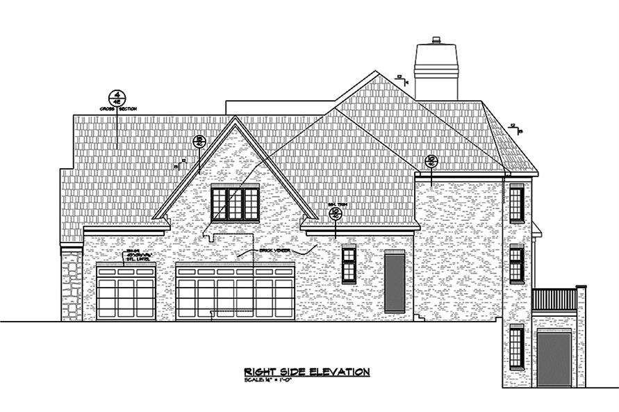 Home Plan Right Elevation of this 4-Bedroom,4748 Sq Ft Plan -120-2474