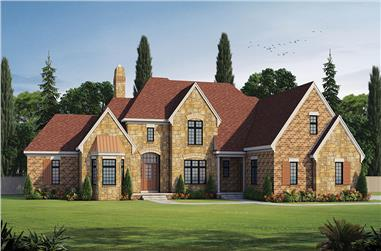 Front elevation of French home (ThePlanCollection: House Plan #120-2474)
