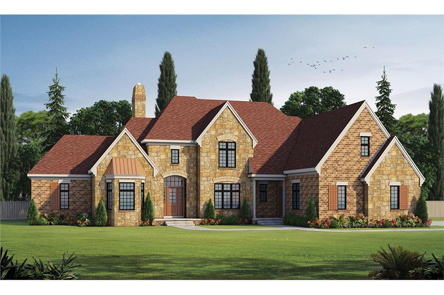 4-Bedroom, 4748 Sq Ft French Home Plan - 120-2474 - Main Exterior
