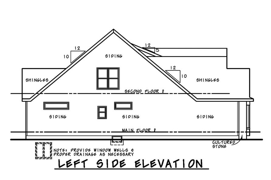Home Plan Left Elevation of this 4-Bedroom,2794 Sq Ft Plan -120-2480