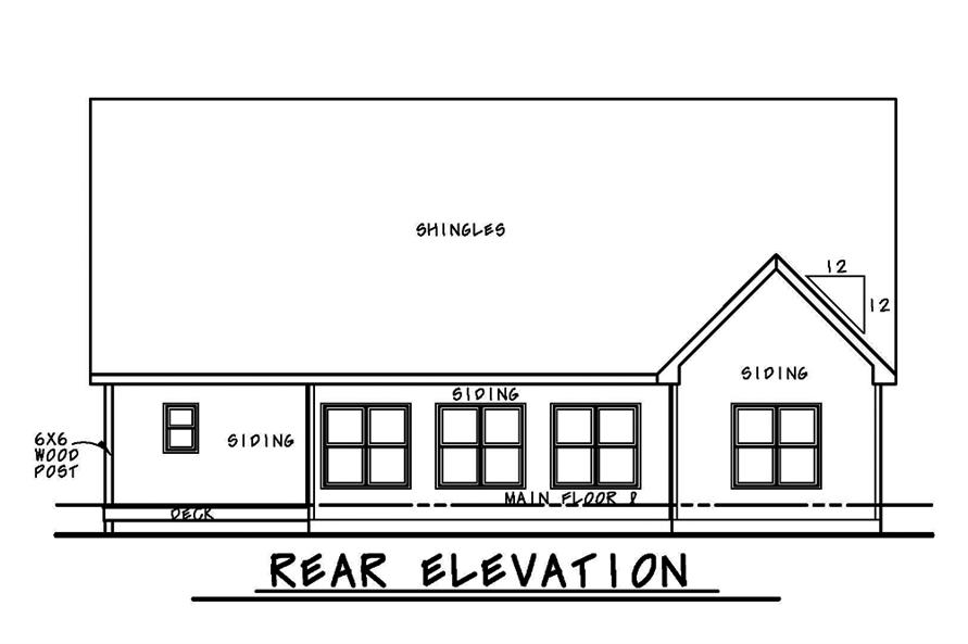 Home Plan Rear Elevation of this 4-Bedroom,2794 Sq Ft Plan -120-2480