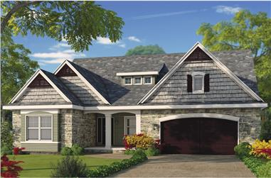 Color rendering of Cottage home plan (ThePlanCollection: House Plan #120-2480)