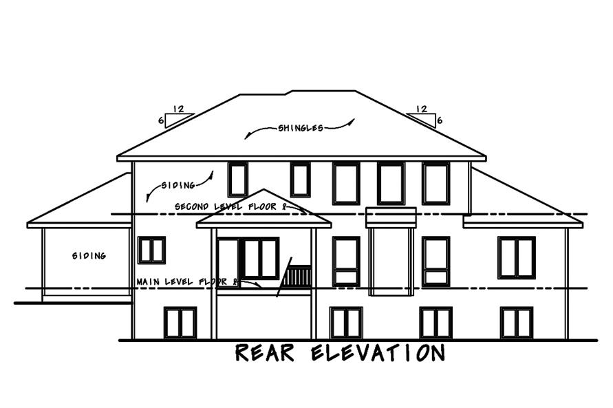 120-2482: Home Plan Rear Elevation