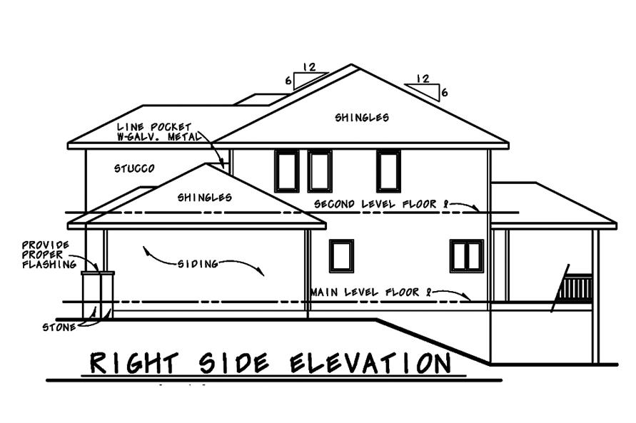 120-2482: Home Plan Right Elevation