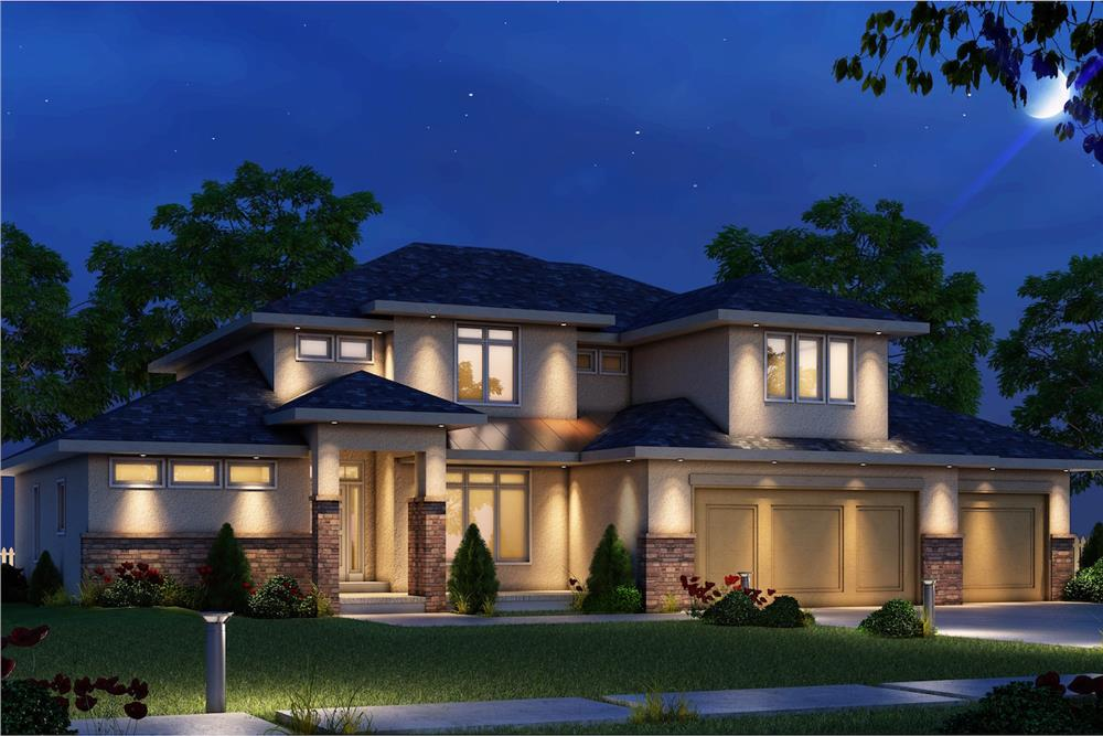 Contemporary style house (ThePlanCollection: Plan #120-2482)