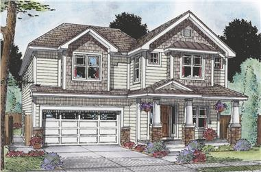 Front elevation of Craftsman home (ThePlanCollection: House Plan #120-2483)