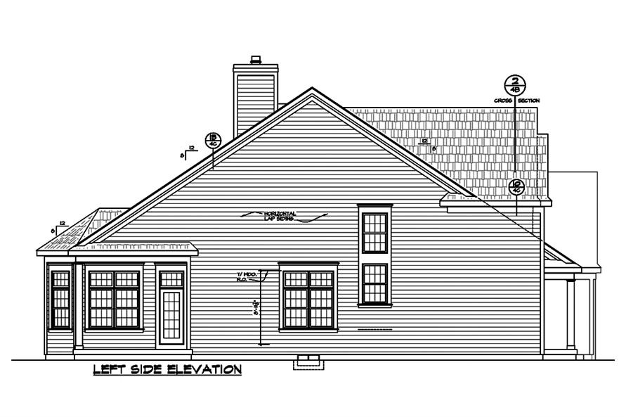 Home Plan Left Elevation of this 3-Bedroom,2196 Sq Ft Plan -120-2489