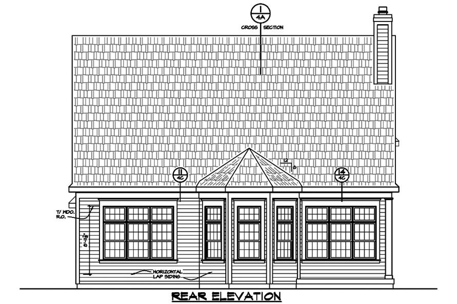 Home Plan Rear Elevation of this 3-Bedroom,2196 Sq Ft Plan -120-2489