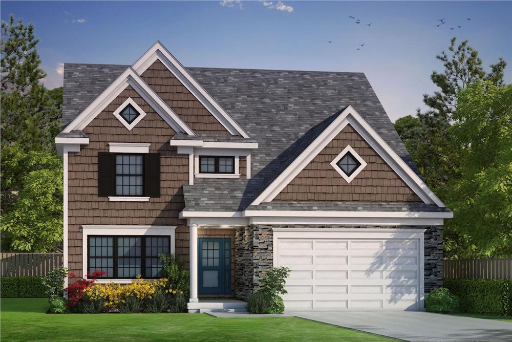 Color rendering of Traditional home design (ThePlanCollection: House Plan #120-2489)