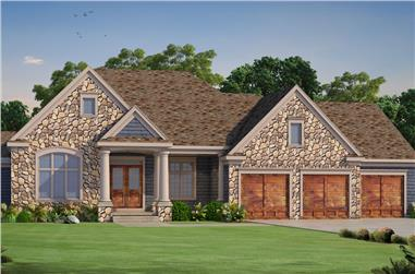Front elevation of Craftsman home (ThePlanCollection: House Plan #120-2490)