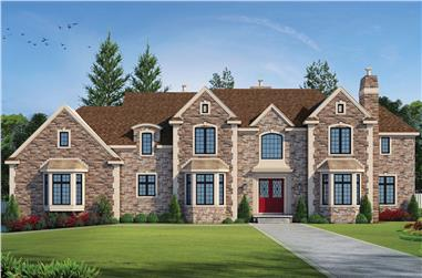 5-Bedroom, 4741 Sq Ft Traditional Home Plan - 120-2494 - Main Exterior