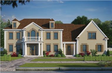 5-Bedroom, 5722 Sq Ft Colonial Home Plan - 120-2495 - Main Exterior