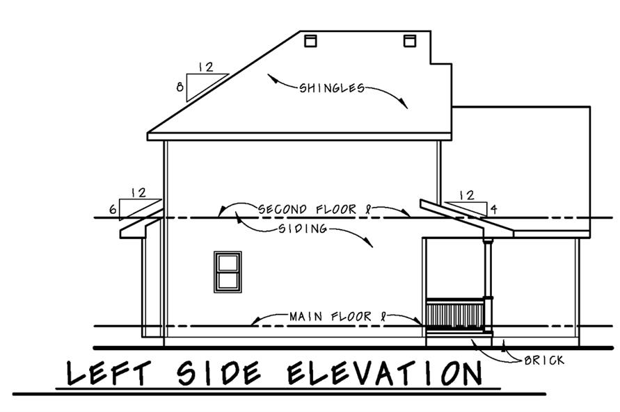 Home Plan Left Elevation of this 3-Bedroom,1460 Sq Ft Plan -120-2502
