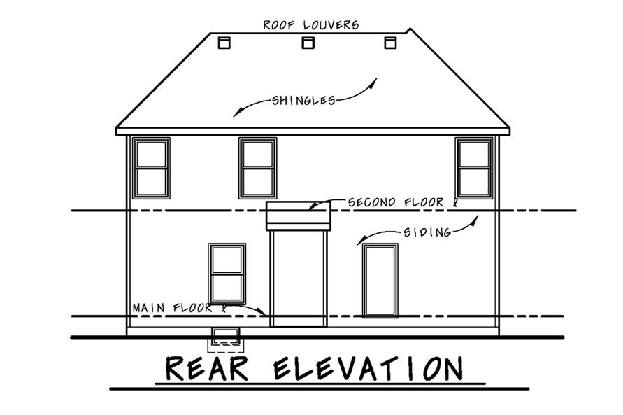 Home Plan Rear Elevation of this 3-Bedroom,1460 Sq Ft Plan -120-2502