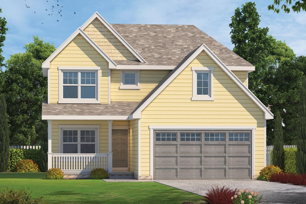 Front elevation of Craftsman home (ThePlanCollection: House Plan #120-2502)