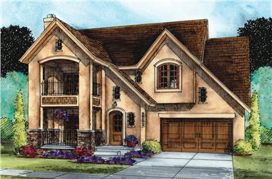 Front elevation of French home (ThePlanCollection: House Plan #120-2505)