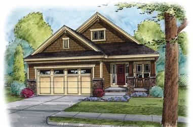 Front elevation of Craftsman home (ThePlanCollection: House Plan #120-2506)